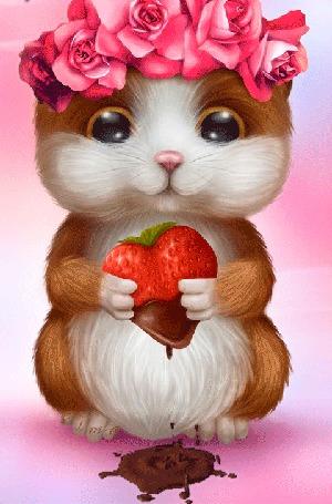 Анимация Девочка хомячок в венке из красных роз на голове, держит в передних лапках клубнику в шоколаде в виде сердечка, с которого капают капли шоколада