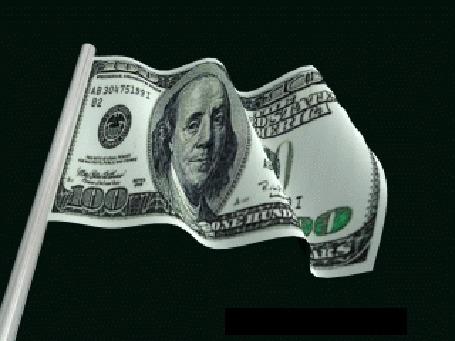Анимация Развевающийся на черном фоне флаг в виде стодолларовой купюры