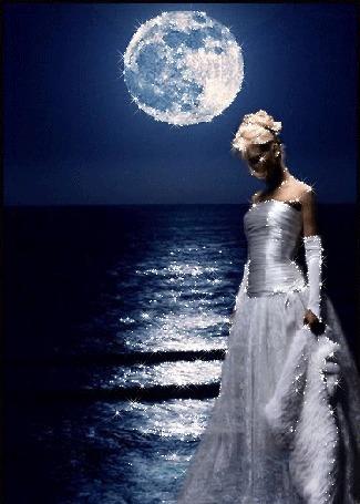 Анимация Девушка в платье стоит ночью у моря под луной