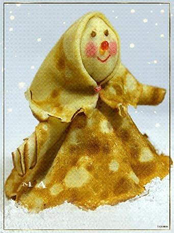 Анимация Женщина из блинов на белом снегу (МАСЛЕНИЦА!), автор Надюшка