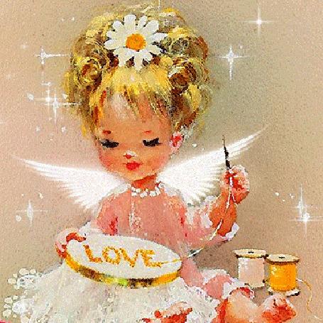 Анимация Девочка ангел вышивает золотыми нитками слово LOVE (ЛЮБОВЬ)