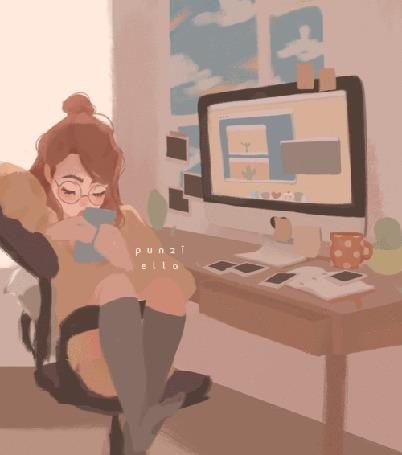 Анимация Девушка мотает ногами, сидя в компьютерном кресле, by punzi ella