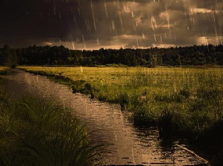 Анимация Весенний дождь с грозой над рекой