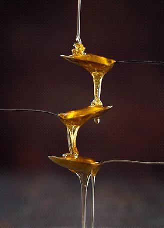 Анимация Мед медленно льется с ложки на ложку
