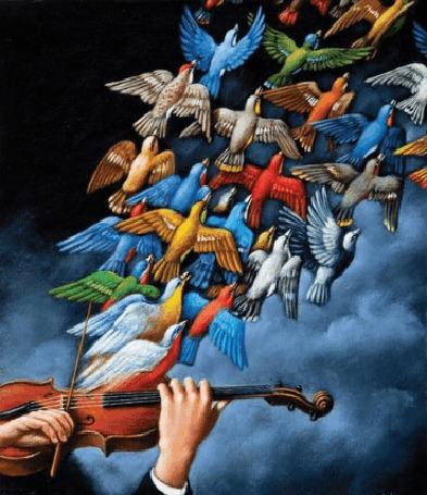 Анимация Звуки скрипки играющего человека превращаются в птиц