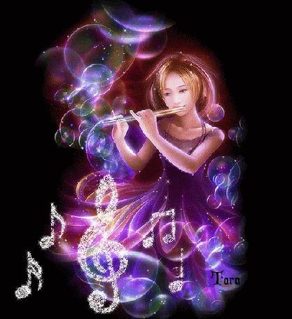 Анимация Девушка играет на флейте в окружении мыльных пузырей