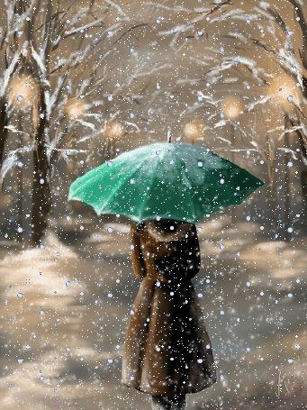 Анимация Девушка с зеленым зонтом стоит к нам спиной под падающим снегом