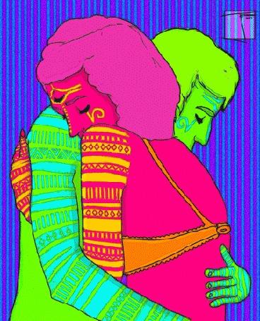 Анимация Парень с девушкой обнимаются