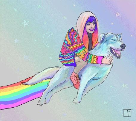 Анимация Девушка верхом на волке летит по звездному небу