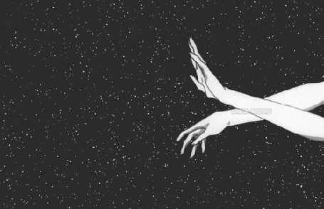 Анимация Руки на фоне звездного неба