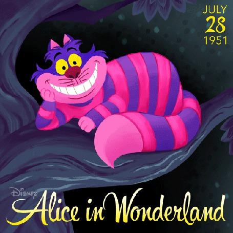 Анимация Чеширский кот из мультфильма Alice In Wonderland / Алиса в Стране чудес (July / июль 28, 1951)