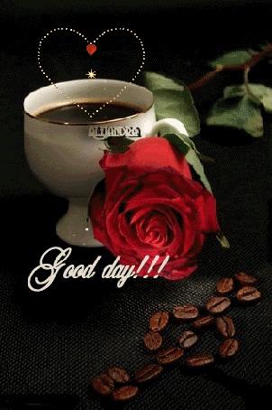 Анимация Над чашкой с кофе сияет сердечко, рядом лежит роза и кофейные зерна выложены в виде скрипичного ключа, (Good day / хорошего дня)
