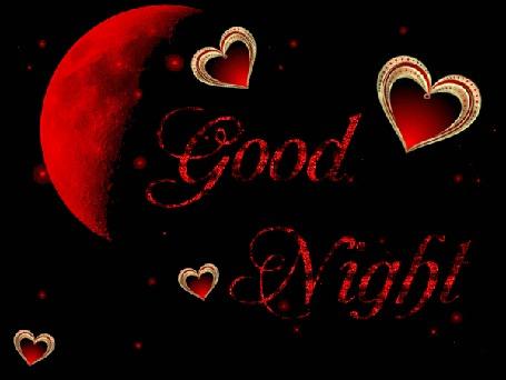 Анимация На черном фоне красная луна, сердечки и надпись Good Night / хорошей ночи
