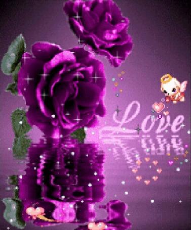 Анимация Розовые розы отражаются в воде, рядом летает ангелочек с волшебной палочкой, пуская сердечки на фоне с надписью Love / Любовь