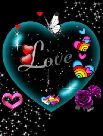 Анимация Большое сердце внутри с маленькими сердечками и надписью Love / Любовь с розами и порхающей бабочкой и листочком