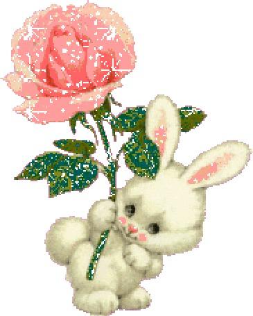 Анимация Милый белый заяц держит розовую искрящуюся розу в лапе