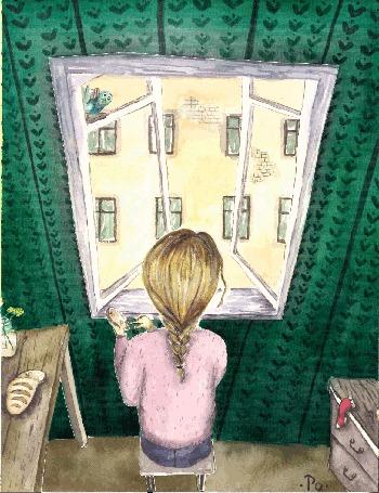 Анимация Девочка кормит птичек, летающих за окном