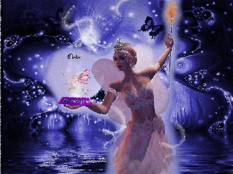 Анимация Девушка - фея с волшебной палочкой, с сияющей диадемой, держит на руке вазу с цветком, где сидит эльф, вокруг летают бабочки
