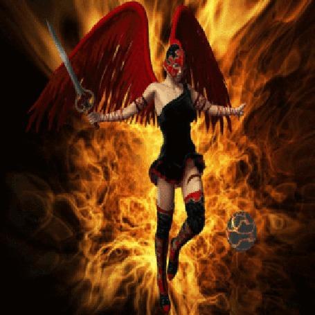 Анимация Ангел - воин в шлеме с мечом в руке смотрит на вращающийся шар, на огненном фоне