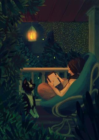 Анимация Девушка сидит в кресле с книгой перед собакой