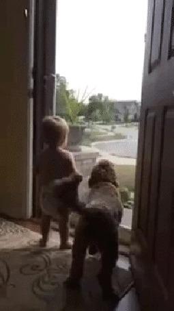 Анимация Веселые и смешные малыш с собакой
