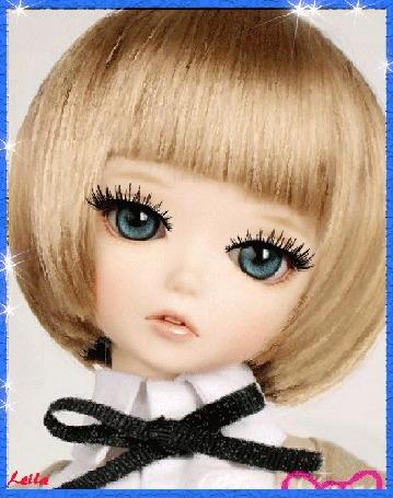 Анимация Милая куколка с большими, голубыми и грустными глазами, by Leila