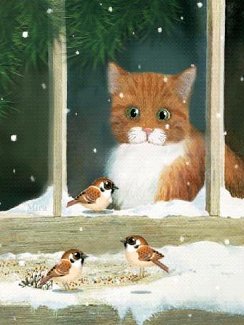Анимация Рыжий котик мяукает на птичек за окном, автор Mira