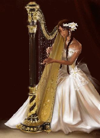 Анимация Смуглая девушка в длинном белом платье, с белыми лилиями в волосах, играет на арфе