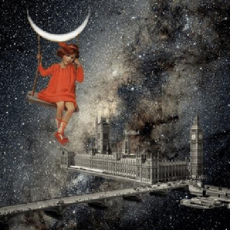 Анимация Девочка в красном платье сидит на качелях, висящих на месяце, в туманном ночном небе над Лондонским мостом