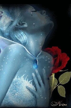 Анимация Плачущая девушка с голубым ожерельем на шее и красная роза за ней, на черном фоне