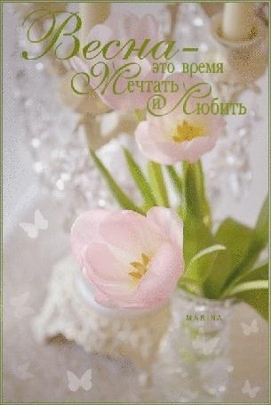 Анимация Открытка, на которой изображены нежно-розовые тюльпаны в вазе (Весна - это время мечтать и любить)