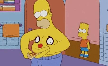 Анимация Барт смотрит на отца Гомера, как тот животом пытается съесть кусок пиццы, кадры из мультсериала Симпсоны / The Simpsons