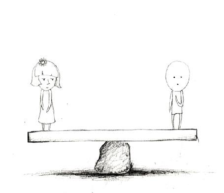 Анимация Рисованные девочка и мальчик на качели - качалке