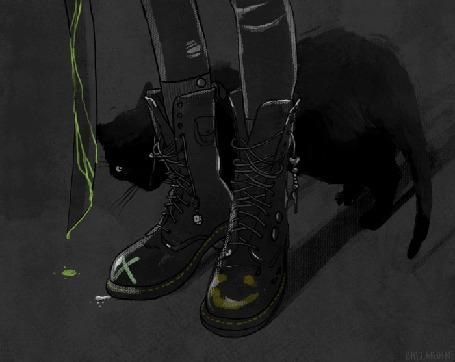 Анимация Девушка в ботинках и кошка, by Sam Ballardini