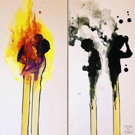 Анимация Свечи в виде влюбленной пары, автор Living Art Project