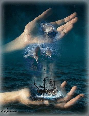 Анимация Одна рука хочет отпустить дельфинов в море, где плывет корабль, другая придерживает его, (Сказочного вечера! ), автор Лепесток