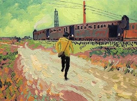 Анимация Картина маслом: парень бежит к идущему поезду