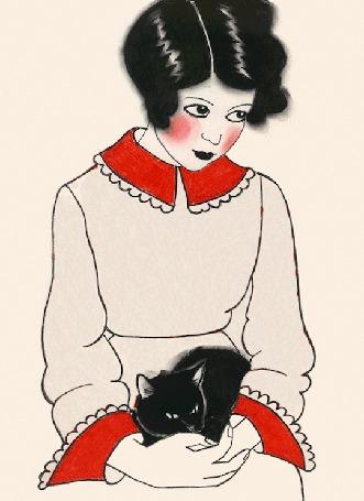 Анимация Девушка в платье с сердечками сидит с кошкой на коленях