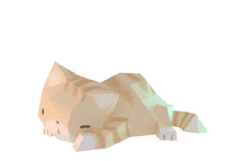Анимация На рыжего кота падает серый котенок