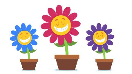 Анимация Улыбающиеся цветы в горшках, by KellerAC