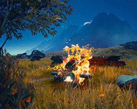 Анимация Ярко горящий костер ночью в горах