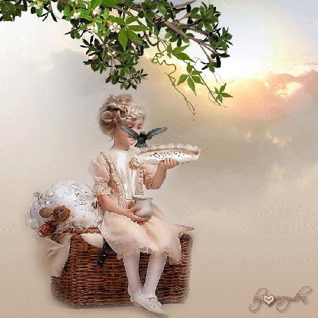 Анимация Девочка сидит на плетеном сундуке и кормит птиц