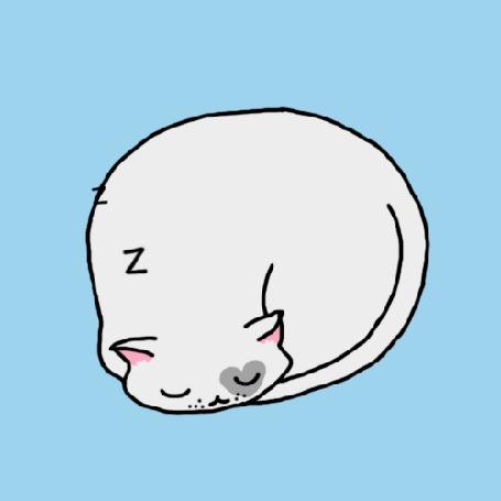Анимация Спящий нарисованный кот, by Saskia Wariner