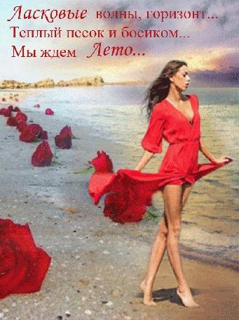 Анимация Девушка становится то ближе, то дальше в легком красном платье идет по берегу моря, на песке лежат красные розы, (Ласковые волны, горизонт, теплый песок и босиком. Мы ждем лето. )