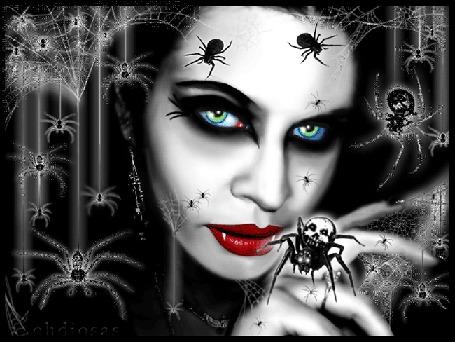 Анимация Девушка-готесса в паутине с пауками