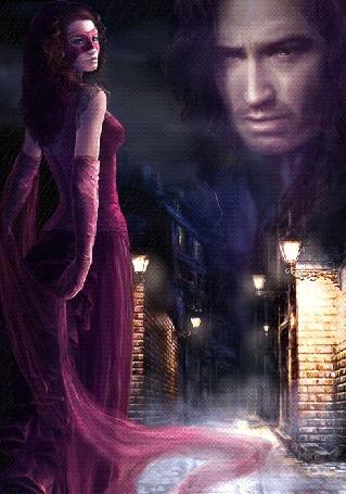 Анимация Девушка в маске на фоне ночного города под дождем, в небе молнии и лицо мужчины, автор анимации Mira
