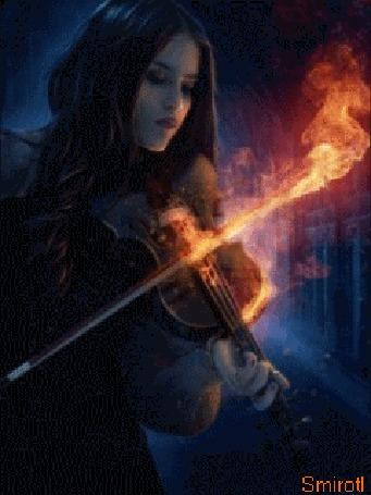Анимация Девушка играет на скрипке с огненным сычком, автор анимации Smirotl
