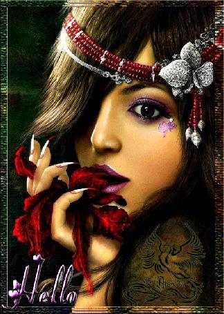 Анимация Девушка с украшениями на волосах, с тату (От Ангела) , с длинными коготками, держит в руке цветок (Hello / Привет)