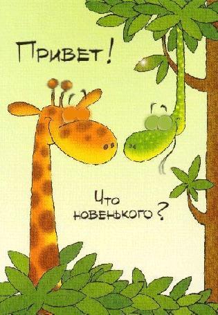 Анимация Жираф в листьях и змея на дереве (Привет! Что новенького?)
