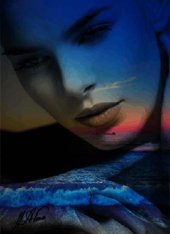 Анимация Лицо девушки на фоне заката над морем